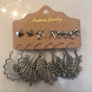 Set of 6 Earrings Boho Feather Bird Dangle Stud